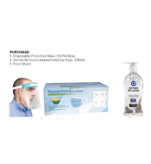 ! Disposable Protective Masks + Hand Sanitizer + Face Shield