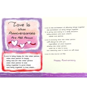 AN/Love Is What Anniversaries