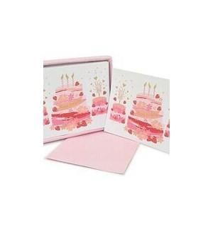 NOTECARD/Bday Cake Pink