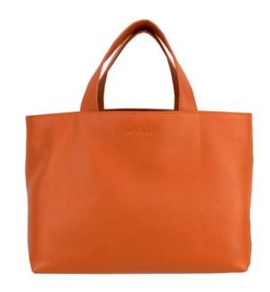 TOTE/Leather Orange Taupe
