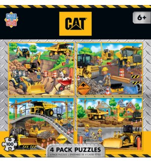PUZZLES/100PC Caterpillar 4pk