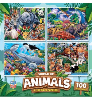 PUZZLES/100PC Wrld Animals 4pk
