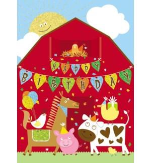 CBD/Red Barn With Farm Animals