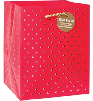 GIFTBAG/Gold Swiss Dots Red