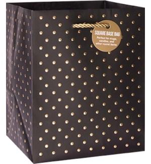 GIFTBAG/Gold Swiss Dots Black