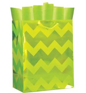 GIFTBAG/Lime Green Chevron M