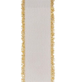 RIBBON/White With Gold Fringe