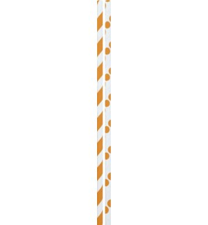 STRAWS/Orange Dots & Stripes