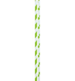 STRAWS/Lime Dots & Stripes