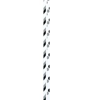STRAWS/Gray Dots & Stripes