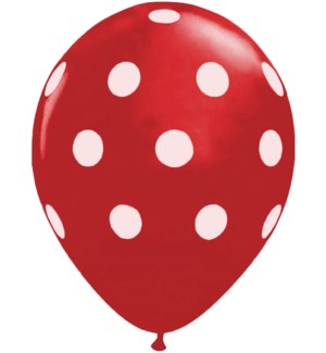BALLOON/Red w/ White Dots