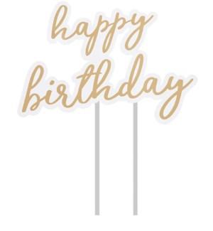 CAKETOP/Happy Birthday Gold