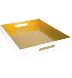 TRAY/White Lacquer-Gold