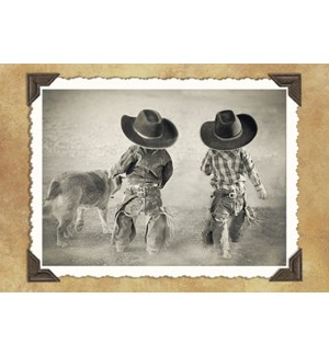 BL/Rearview of little cowboys