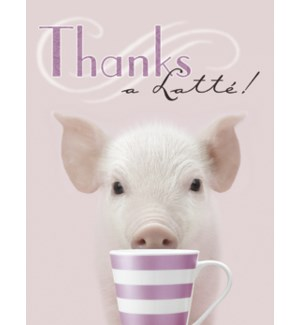 NOTECARD/Pig with coffee