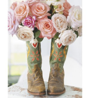NOTECARD/Roses & boots
