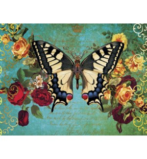 NOTECARD/Butterfly, roses