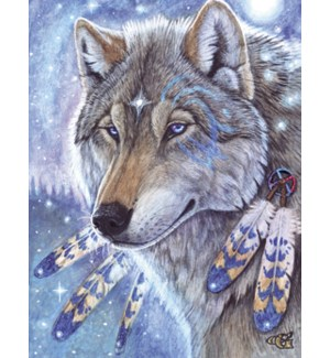 NOTECARD/Wolf feathers