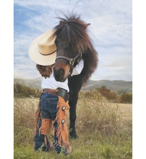 ENC/Cowgirl hugging a pony