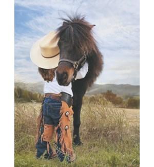 ED/Cowgirl hugging a pony