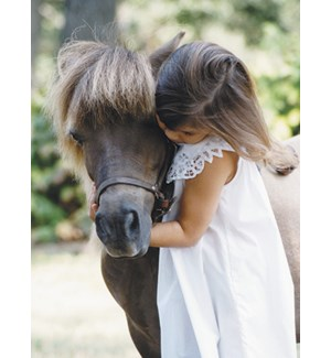 FR/Girl hugs brown pony