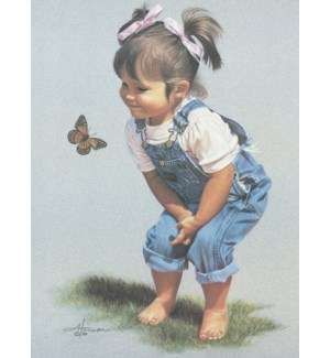 FR/Girl looking at butterfly