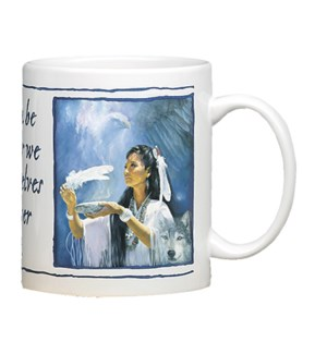 MUG/Woman holding feather