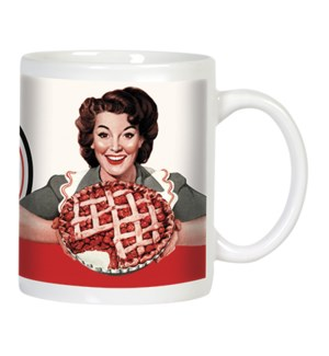 MUG/Retro woman & cherry pie