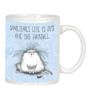 MUG/White cat with tongue