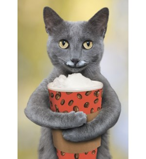 TY/Cat holding cup of coffee