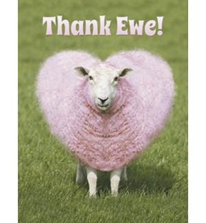 NOTECARD/Heart pink wool