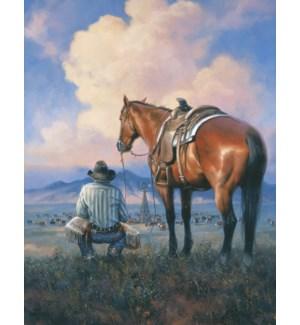 FR/Cowboy next to horse