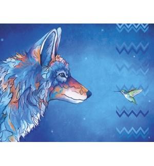 FR/Blue wolf & hummingbird