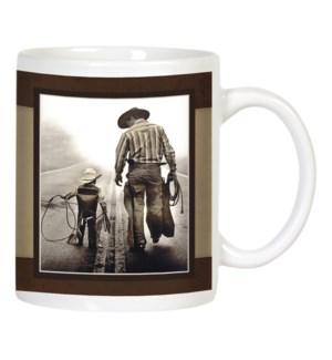 MUG/Cowboy dad and son walk