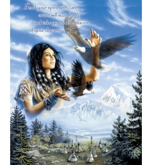 POSTER/Girl, teepees & eagles