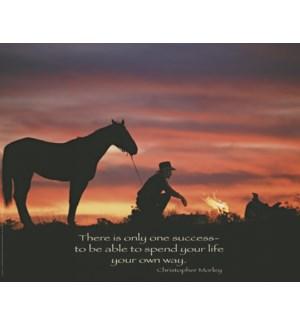 POSTER/Cowboy & horse sunset