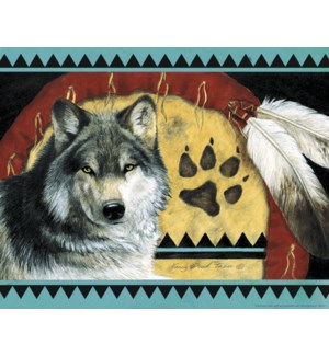 POSTER/Wolf & pair of feathers