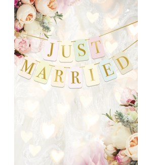 WD/Just Married sign, flowers