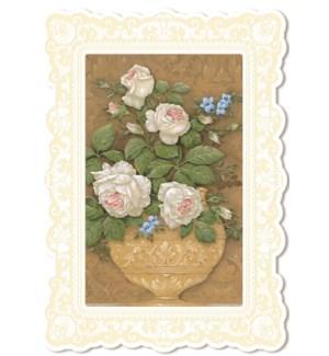 SY/URN OF WHITE ROSES