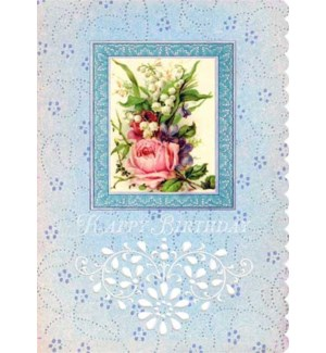 BD/Blue Card With Flowers