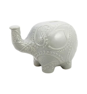 BANK/Grey Embossed Elephant