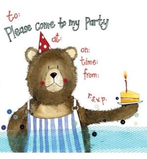 NOTECARDS/Bear & Cake Invite