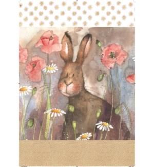 TEATOWEL/Hare & Poppies