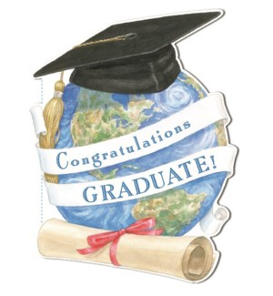 GR/ Graduation Hat On Globe