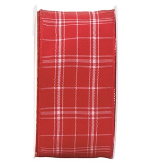 RIBBON/Wire Plaid Red