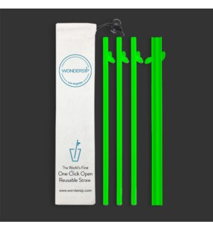 STRAWS/Long Glow Green Leaf