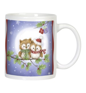 MUG/Two owls holly branch