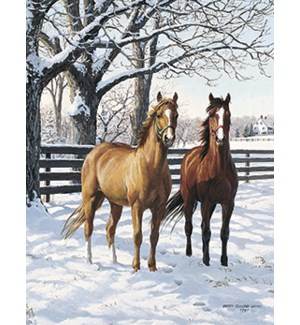 BOXEDNOTE/Horses in snow