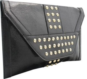 Studded Metallic Oversized Envelope Clutch Black