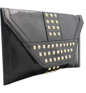 Studded Metallic Oversized Envelope Clutch Black